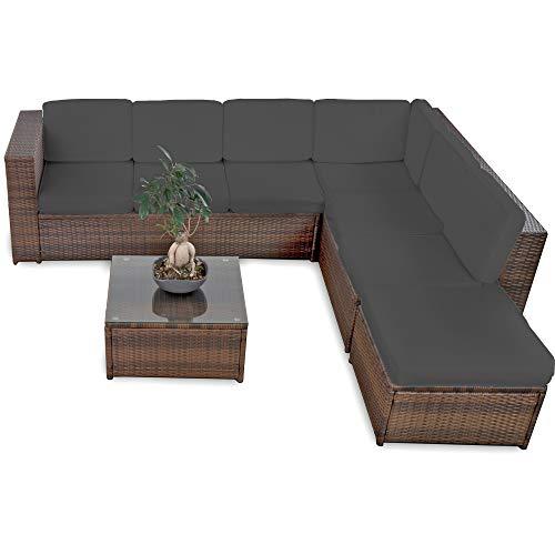 XINRO® 19tlg Rattan Lounge Gartenmöbel Sofa - Lounge Set Polyrattan Garnitur Sitzgruppe - In/Outdoor - handgeflochten - mit Kissen - braun
