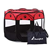 XianghuangTechnology Soft Fabric Portable Foldable Pet Dog Cat Puppy Playpen, Indoor/Outdoor use Pet Kennel Cage (Red)