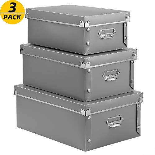 SEEKIND Plastic Bins, Water-Proof, Space Saving Storage Box 3 in 1 Set, for Clothes, Toys, Cosmetic, Books.