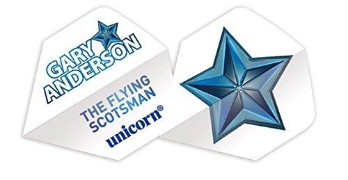 Unicorn Authentic 100 Gary Anderson Big Wing Flight, Weiß/Stern, Einheitsgröße