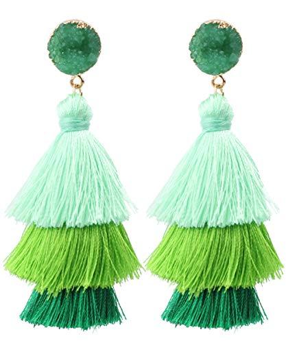 Rave Envy Pendientes de borla coloridos para mujer, pendientes de borla en capas, colores a elegir, Una talla le queda a la mayoría, Borla,