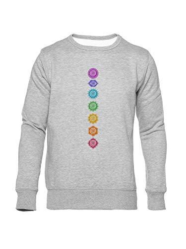 Fioze 7 Chakren Kosmisch Energie Zentren Unisex Sweatshirt Grau Rundals Unisex Jumper Grey