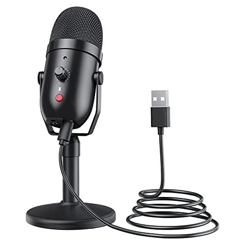 Diealles Shine Micrófonos de Condensador, 96 KHZ/24 bit Microfono USB, Micro PC para Transmisión, Gaming, PS4