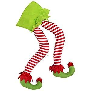 BELLE VOUS Piernas de Duende para Arboles de Navidad- Calcetín de Navidad Piernas rellenas con Rayas 50 cm - Decoraciones de Navidad Colgante para Árbol de Navidad Fiesta en el Hogar Adornos Chimenea