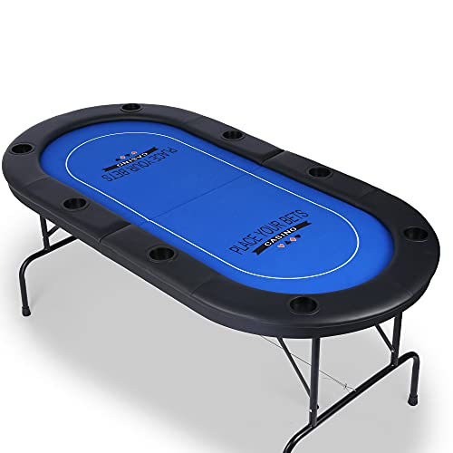 Vilobos Poker Table Texas Holdem Poker for 8 Players Casino Games Blackjack Baccarat with Faux Leather Padded Rails and Cup Holders-Blue Folding Poker Table (Texas Holdem Poker)