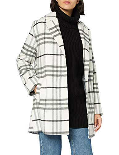 Mexx Womens Checked Wool Coat, Blanc de Blanc/Anthracite, 44