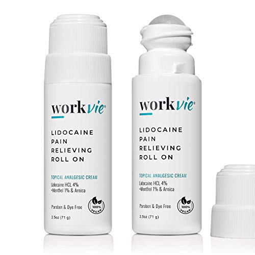 Workvie Lidocaine Roll On Cream 2pk- Maximum Strength Pain Relief- Instantly Numbs Muscle & Joint Pain - Plus Arnica, Menthol, Aloe Vera - for Sensitive Skin
