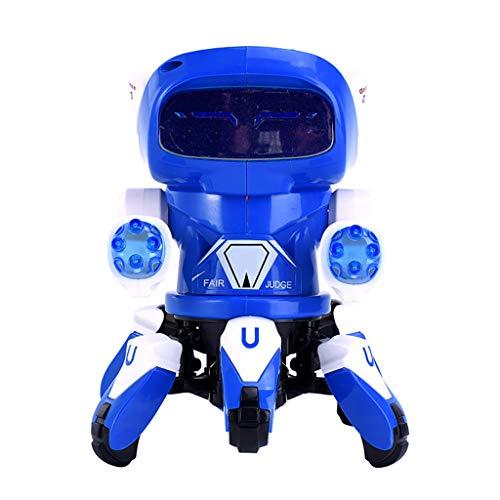 Tinani Kids Toys,Electric Intelligent Dance Robot,Electric Octopus Dancing robotMusic Light Toy Best Boy Child Gift (Blue)