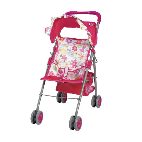 Adora Medium Shade Foldable Umbrella Play Stroller with Hood, Storage Compartment and Double Wheels for Toy Baby Dolls (Ages 3+)