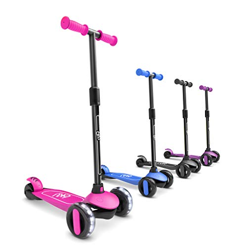 6KU Kids Scooter with Flash Wheels , Toddler Scooter 4 Adjustable Height, Scooters for Kids 2-5 Extra-Wide PU LED Wheels, 3 Wheel Scooter for Kids for Girls & Boys Learn to Steer