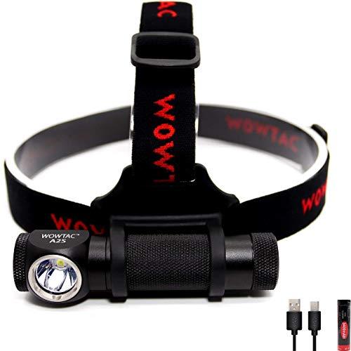 WOWTAC A2S superhelle LED Stirnlampe CREE XP-L V6 LED, Kopfleuchte max 1050 Lumen, inklusive 1 x USB 18650 3400mAh Akku - Kaltweiß