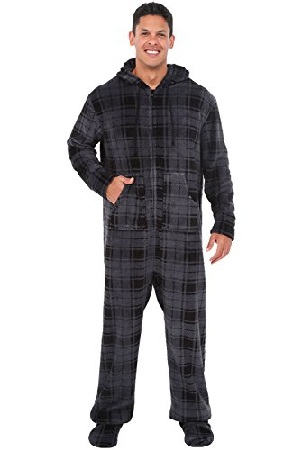 Alexander Del Rossa Men's Warm Fleece One Piece Footed Pajamas, Adult Onesie with Hood, 3X Gray Plaid (A0320R403X)