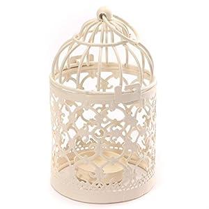 Leisial - Romántico candelabro de hierro calado de estilo Vintage Clásico, decoración europea, 14 x 8cm