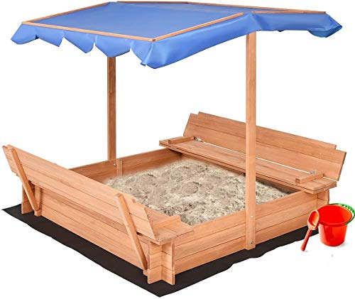 SSLine Kids Large Sandbox with Canopy Outdoor Wooden Sand Boxes Sand Pit with Covered Lid and Bench Toddler Home Lawn Backyard Activity Playset Sandboxes for 2-8 Years Old Children