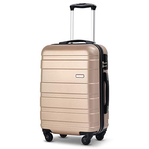 【タノビ】 TANOBI スーツケース キャリーケース S機内持込可 軽量 かわいい 人気色 静音キャスター ファスナータイプ 6色3サイズ(一年安心保証) (ゴールド, L)
