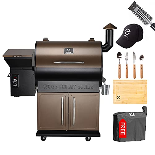 Z GRILLS Pellet Grill (ZPG-700D-Bonus#2)-Grill Cover, Stainless steal Tool sets, Grill Brush,ZGRILLS Aprons,Bucket Liners