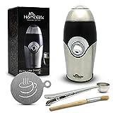 Moulin Café Électrique - Inclus : pinceau nettoyage, cuillères, clips fermeture paquet, récipient latte art - Lames acier inoxydable - Broyeur café - Super Efficace - 30 sec café moulu