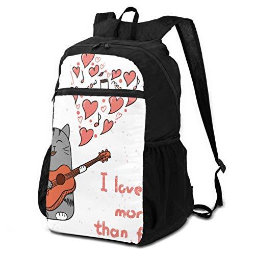 Daypacks für Reisen, Cartoon-süße Katze mit englischen Wörtern, Damen-Wanderrucksack, Tagesrucksack, leicht, wasserdicht, für Damen und Herren, für Camping und Outdoor