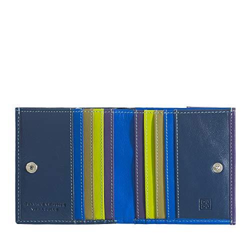 Portafoglio di pelle multicolore porta carte e monete di DUDU Woods