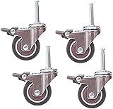 Chair Caster PCS Rolls Mobili Mobili universale rotelle Pivot freno 2 pollici 50 millimetri Silenzioso 7,5 millimetri gambo lungo gomma Accessori utilizzo a lungo termine (Dimensioni: Brake), Dimensio