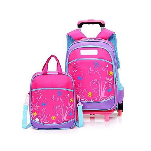 MxZas Trolley travel bag Cartoon Children's Schoolbag Students 6 Wheeled Stairs Climbing Trolley Bag Girls Waterproof Large Storage Space Shoulders Bag Set Durable Mold Wheels Jzx-n