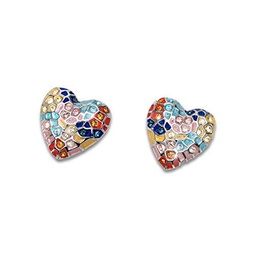 Oliver Weber Collection Gaudí Heart Pin – Pendientes rodiados – Colección de joyas Premium – Pendientes con cristales Swarovski – Idea de regalo para mujer