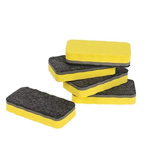 Amathings Whiteboard-spons in verschillende kleuren, magnetisch, afmetingen: 110 x 52 mm, voor droog schoonmaken wissen magneethouder, 5 stuks geel