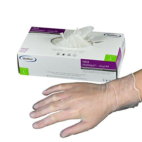 MaiMed Vinyl-Handschuhe Weiß (100 Stück) | Größe L | latexfreie Arbeitshandschuhe extrem dehnbar...
