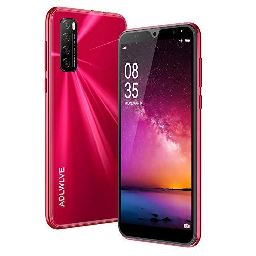 Moviles Libres Baratos 4G, Android 9.0 3GB RAM 32GB ROM Telefono Moviles 6.3' Water-Drop Screen FHD, Smartphone Libre Dual SIM 4600mAh Cámara 8MP 5MP Face ID Móviles y Smartphone Libres (Rojo)