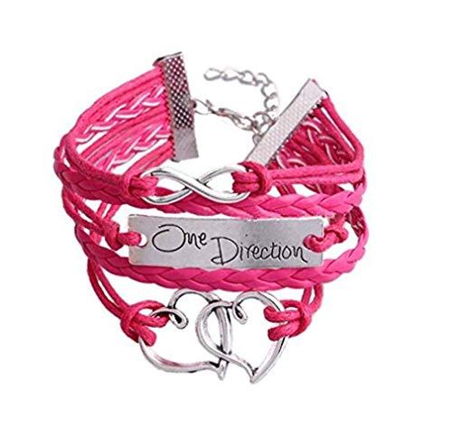 BelongsU Mujer Pulsera Infinito Cuero PU Pulsera Tejida One Direction Firmar Cadena de Mano Clásico Cadena de Puño Brazalete Pulsera de Joyería, Rosa