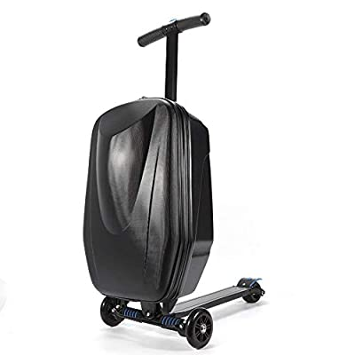 DX.JLY Multifunction Scooter Suitcase Foldable Trolley Case Bags Travel Trolley Luggage Scooter Backpack for Airport Travel,Black