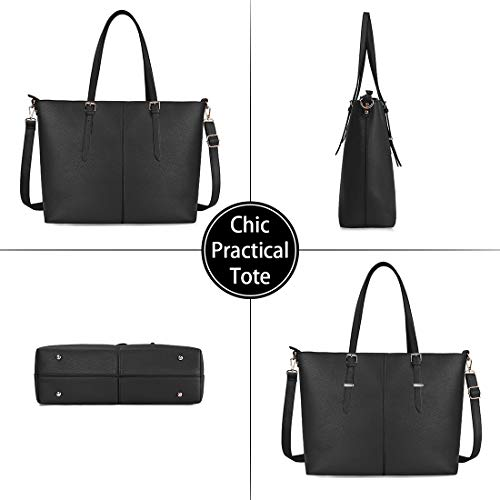 Laptop Tote Bag for Women 15.6 Inch Waterproof Lightweight Leather Computer Laptop Bag Women Business Office Work Bag Briefcase Large Travel Handbag Shoulder Bag Black