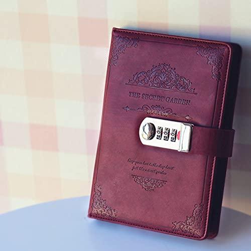 LIUCHEN cuadernoCuaderno retro vintage con contraseña, planificador de libros, oficina, señora, privacidad, código de Van Gogh, protección de libros, papelería, rojo