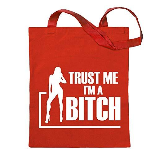 Kiwistar Confía en mí, Son una Bitch GoGo Girl Bolsa de Yute impresión diseño Estampado Rojo Size: 30cm