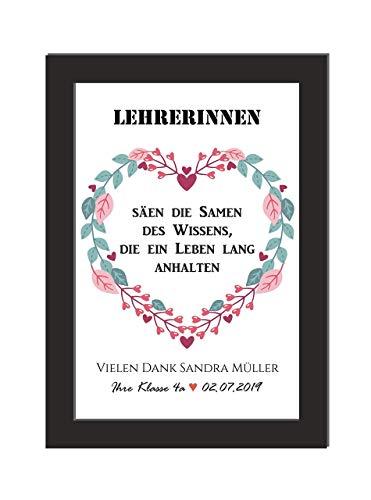 Personalisiertes Wandbild/Lehrerinnen/Andenken Grundschule/Geschenk Abschied Schule/DIN A4, ohne Bilderrahmen