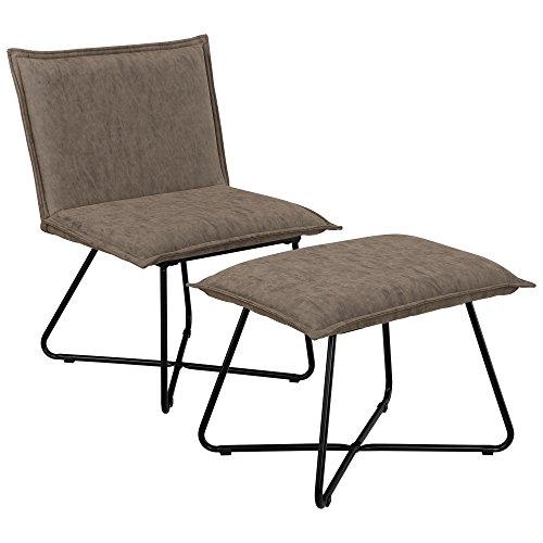 [en.casa] Sillón Estable con Taburete reposapiés - Set en marrón - imitación de Ante - Estructura de Hierro