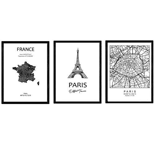 Pack de Posters de Paises y monumentos. Mapa Ciudad de Paris, Monumento Torre Eifell y Mapa Francia. Tamaño A4