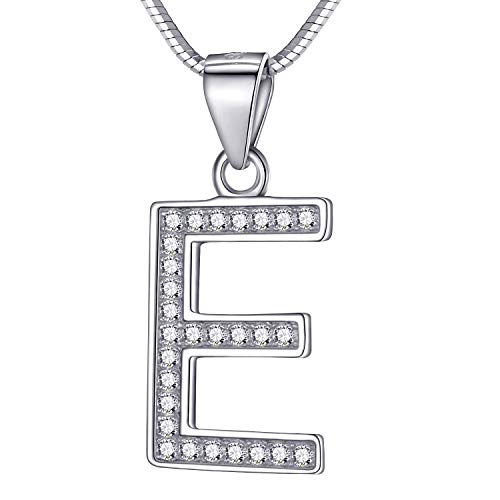 Morella Mujeres Collar y Colgante Diferentes Letras para Elegir de 925 Plata de Ley rodio Plateado 45 cm Longitud