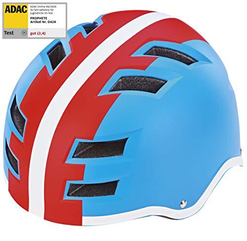 Prophete Fahrradhelm, Größe: 55-58cm, blau/Rot/Weiß, M