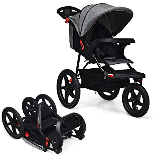 GOPLUS Kinderwagen, Buggy mit Liegefunktion, Baby-Stroller mit 5-Punkt-Gurt, Zusammenklappbarer Kinderwagen, mit Verstellbarer Rückenlehne, Stoßfest, Nutzbar ab der Geburt bis 15 kg (Grau)