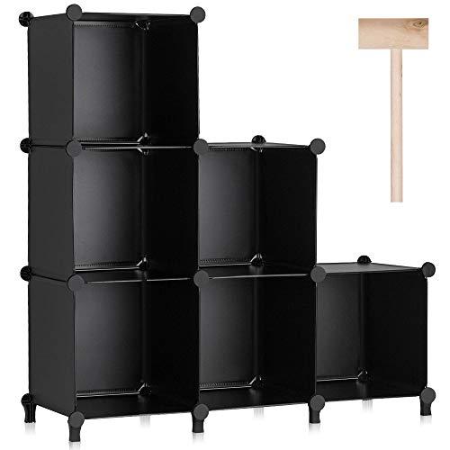 Puroma Cube Storage Organizer 6-Cube Closet Storage Shelves with Wooden Hammer DIY Closet Cabinet Bookshelf Plastic Square Organizer Shelving for Home Office Bedroom - Black
