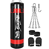 GIKPAL Punching Bag, 360 ° Rotating Heavy Boxing Bag with Stand, 44 LB/47 in Filled Hanging with Chains +Handbag Hook+Boxing Gloves+Hands Wraps for Fitness Training Home Gym for Adults/Teens (Black)