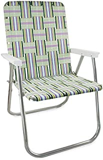 Lawn Chair USA Webbing Chair (Classic, Spring Fling with White Arms)