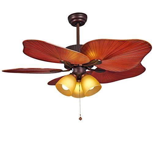 """Deckenventilator mit Beleuchtung Amerikanische Deckenventilator Licht mit Glaslampe Pull-Draht-Steuerung Positiv- und Negativ-Schalter Fan Kronleuchter for Wohnzimmer, 44\"""" Deckenventilator für Wohnzim"""