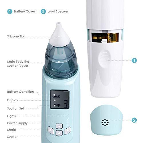 INTEY Nasal Aspirator Nasensauger sicherer und schneller sowie hygienischer Nasenschleimentferner mit Musik & Licht 3 Betriebsstufen & 2 Größe für Neugeborene & Kleinkinder - 4