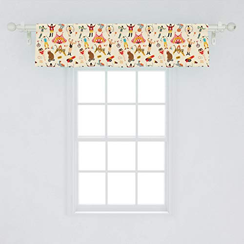 Ambesonne Circus Window Valance, Colorful Retro Circus as Bear Riding Tricycle Siamese Girls and Entertainer, Curtain Valance for Kitchen Bedroom Decor with Rod Pocket, 54' X 12', Multicolor