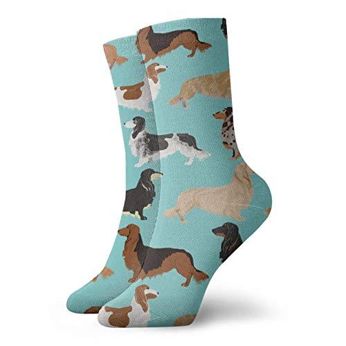 Dog Dachshunds Cute Flowers Mint Sweet Clothing Organic Babies Fashion Long Socks Soft Warmer Stockings 1 Pair For Women &Men Sport Socks 11.8 Inch(30Cm)