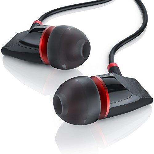 LIAM & DAAN - Auriculares internos de Aluminio State Auriculares Diseño LD - Rojo Negro