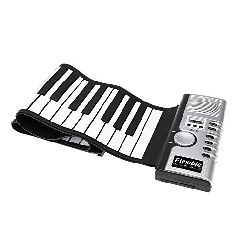 Andoer® Teclado Electronico Portátil Flexible Rueda para Arriba de Piano Enrrollable Piano Virtual 61 Teclas