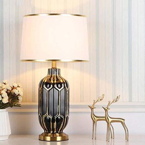 Tesysyet Simple Black Ceramic Table Lamp Nordic Bedside Living Room Bedroom Lamp Model Room Hotel Decoration 36x65cm